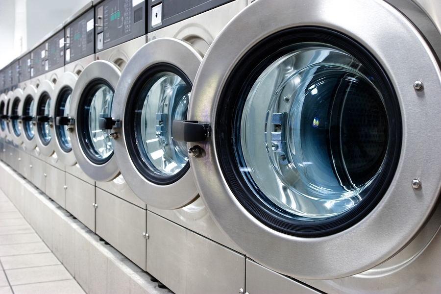 washing machines in a commercial laundry